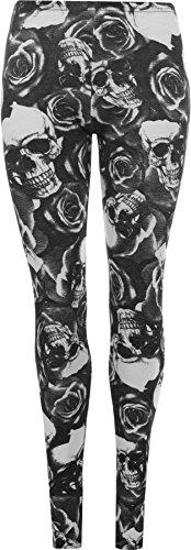 WearAll - Damen Übergröße schädel pirat druck lange leggings - Schwarz - 44 bis 46 (Piraten Outfits Für Damen)