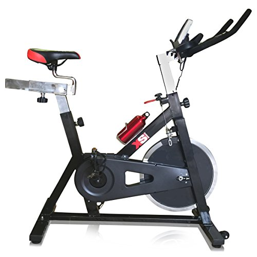 XS Sports Aerobic Indoor Training Exercise Bike-15kg Chain driven Flywheel, Padded Armrests, Computer, Pulse Sensors, Warranty-Fitness Cardio Home Cycling Racing