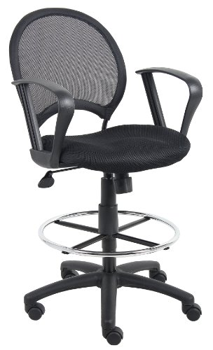 Boss Office Products B16217 Mesh Drafting Stool with Loop Arms in Black
