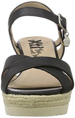 Xti Black Pu Ladies Sandals ., chaussures compensées femme Schwarz (Black)