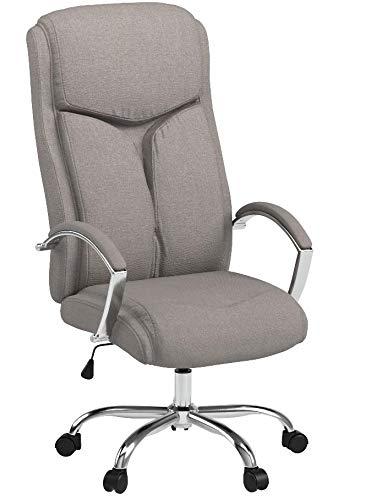 CLP Bürostuhl XL Vaud mit Stoffbezug, Chefsessel, Drehstuhl mit Armlehnen, Bürodrehstuhl mit hochwertige Polsterung, max. Belastbarkeit 140 kg, Grau