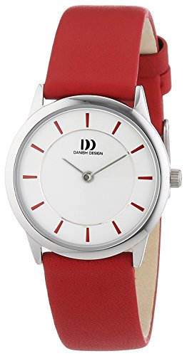 Danish Design Women's Quartz Watch with white Dial Analogue Display and Red Leather 3324547 XS