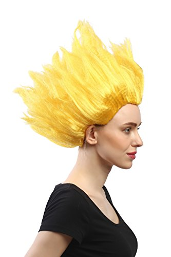 Peluca amarilla de punta para carnaval o para cosplay