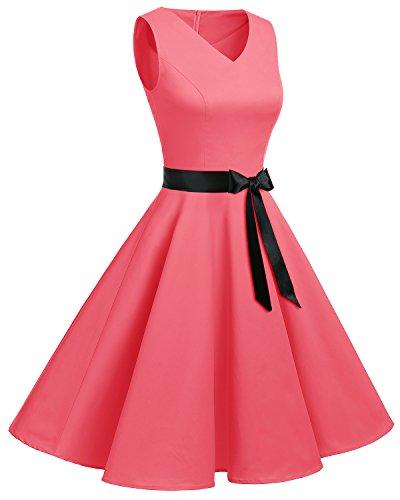 Bridesmay Damen Vintage 1950er Rockabilly Ärmellos Retro Cocktailkleid Partykleid Blush