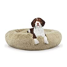 The Dog's Bed Sound Sleep Donut Dog Bed, Large Dog Biscuit Beige Plush Removable Cover Premium Calming Nest Bed