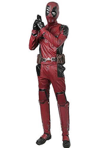 Deadpool Echte Kostüm - Men Costume Halloween Updated Version Hero Cosplay Adult PU Outfit with Belt Clothing