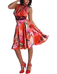 Jela London Damen Cocktail-Kleid Sommer Neckholder Satin-Glanz Blumen-Motiv & Unterbrust-Spitze Party Club Strand (34 - 38)
