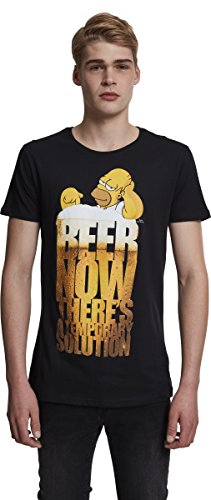MERCHCODE Herren Simpsons Beer Now Tee T-Shirt, Black, L (T-shirts Simpsons Tees)