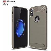 Funda iPhone X Carcasa Gris silicona TPU Cubierta protectora Shock-Absorción Caja del teléfono Anti-Arañazos Parachoques de fibra de carbono suave de alta calidad(Gris)