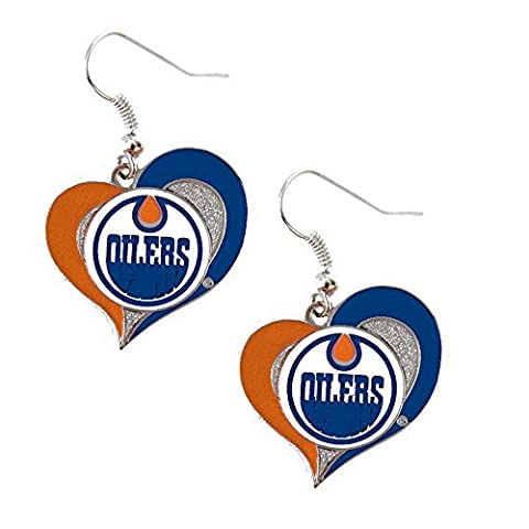 Edmonton Oilers Swirl Heart Earring NHL Dangle Logo Charm Gift by aminco