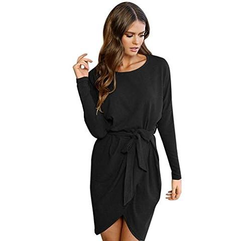♥Robe Manche Longue,Xjp L'automne Col Rond Mini Robe Avec Ceinture Irregular Hem♥ (XL, Noir)