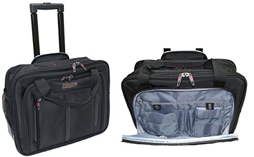 Aerolite Laptop-Tasche, 17 Zoll, mit Rädern, Kabinengröße, Business-Trolley, schwarz
