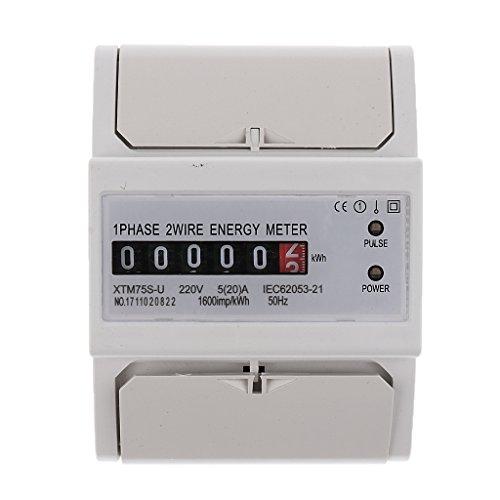 Gazechimp Digitaler Stromzähler Drehstromzähler Wattmeter Din-Meter - 1 Phase 2 Wire 5(20)A