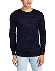 Peter England Mens Synthetic Sweater (8907495561226_PSW51601099_Large_Medium Grey with Blue)