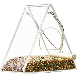 Automatique Mangeoire Oiseaux en Forme d'acrylique Transparent pour Fenêtre Jardin Exterieur, Facile à Installer, Nettoyer et remplir