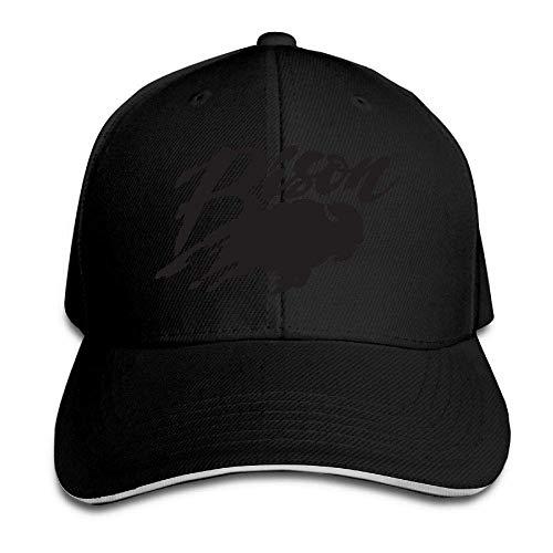 Men's Athletic Baseball Fitted Cap Hat Bison Durable Baseball Cap Hats Adjustable Peaked Trucker Cap 362