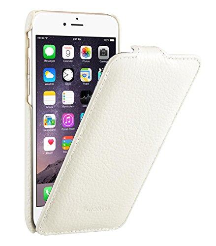 Edle Tasche für Apple iPhone 6S und 6 (4.7 Zoll) / Case Außenseite aus beschichtetem Leder / Cover Innenseite aus Textil / Schutz-Hülle aufklappbar / ultra-slim / Flip-Case / Farbe: Weiß Farbe Flip Case