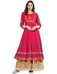 Zoeyams Womens Pink Cotton Block Prints Long Anarkali Kurti-(ZC0514)