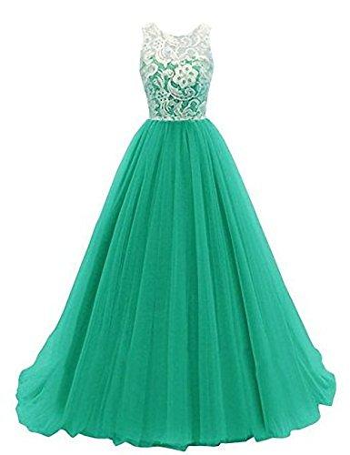 KekeHouse® Lang Tüll Spitze Kleid Abendkleid Abschlussball Kleid für Damen und Mädchen Grün