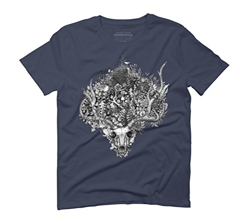 Life's Mystery: The Deer Skull Men's Graphic T-Shirt - Design By Humans Navy