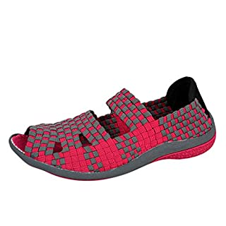 Yvelands 2019 Mode Frauen Freizeitschuhe Sommer Damenmode gewebt Flache Multi Farben Sandalen Peep Toe Sandalen Strandschuhe (CN-40,Rot)
