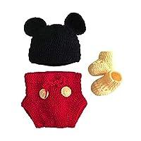 التصوير الدعامة طفل زي لطيف الكروشيه محبوك قبعة قبعة فتاة صبي حفاضات الأحذية الماوس