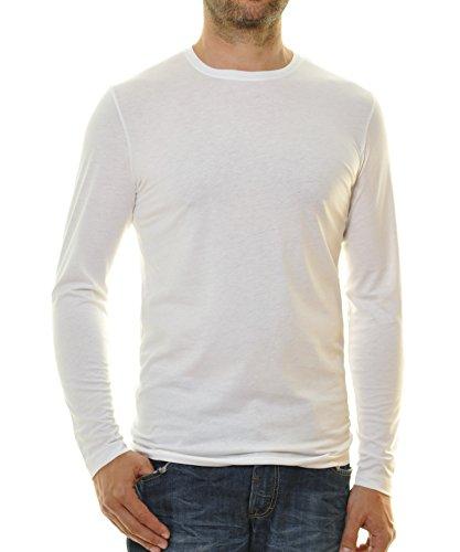 Ragman Herren Langarm Shirt mit Rundhals Bodyfit Weiß