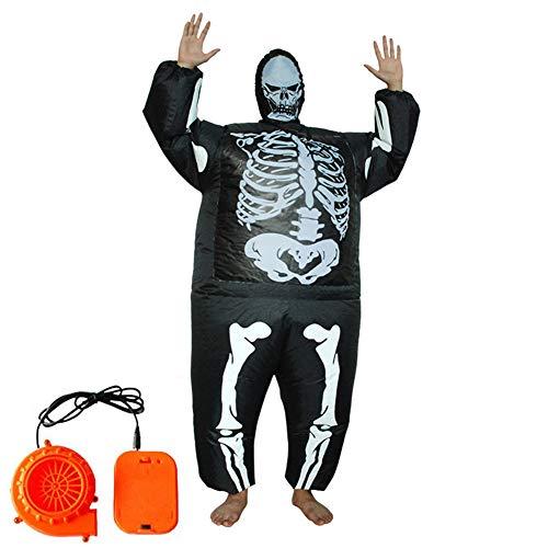 Lvbeis Erwachsene Aufblasbare Skelett Kostüm for Halloween Horror Party Outfit Costume Für Größe 150 cm-190 cm