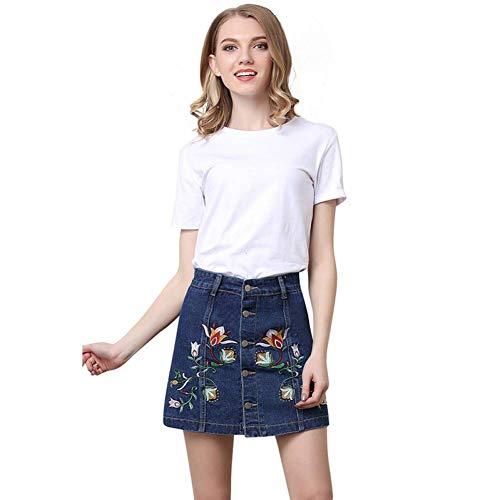 GYYWAN Jeans Rock Frauen Vintage Gestickte Blumen Button Up Mode Lässig Plus Size Washed Denim Röcke -