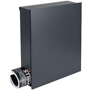 MOCAVI Box 111 Dunkelgrauer Designer-Briefkasten mit Zeitungsfach Wand-Postkasten anthrazit (ral 7016) groß, hochwertig