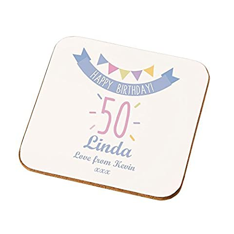Personalised 50th Birthday Coaster, 50th Birthday Gifts For Her, Unique 50th Presents by Personalised Gift Ideas