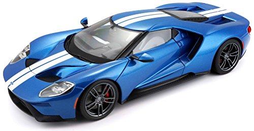Maisto Ford GT: Modellauto mit Federung, Maßstab 1:18, Türen und Motorhaube beweglich, hochwertiges Fertigmodell, lenkbar, 24 cm, blau (538134) (1 18 Diecast Ford Gt)