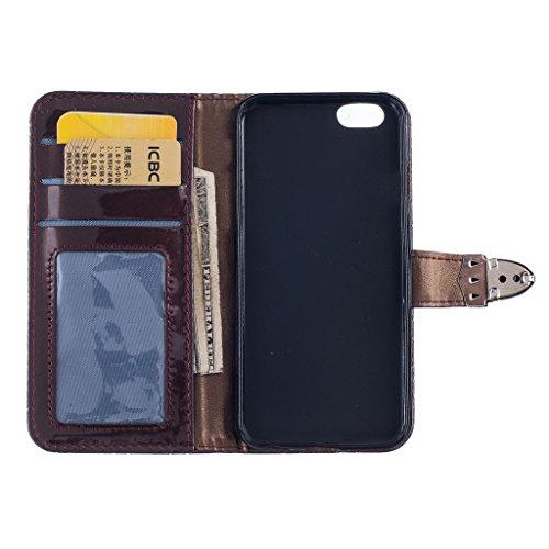 iPhone 5/5S/SE Custodia, jgntjls metal-buckle, grid-embossing, Cover a portafoglio per Apple 4.0 Coffee