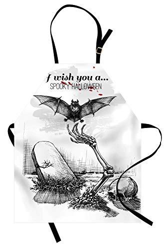 ABAKUHAUS Halloween Kochschürze, Totes Schädel-Skelett aus dem Grab und von Fliegen-Schläger-Hand gezeichnetem gespenstischem Bild, Maschienenwaschbar Wasserdicht kein Verblassen, Weiß Schwarz (Grab Halloween Skelett)