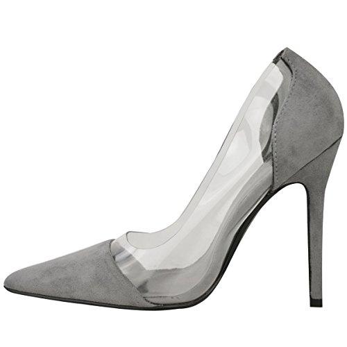 Donna Perspex Trasparente Tacco A Stiletto Sandali Da Cerimonia Slip-on Scarpe Décolleté Misura Grigio Finto Scamosciato