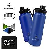 coolrhino Edelstahl Thermo-Trinkflasche 530-ml / 950-ml für Sport, Outdoor & Kinder - Isolierflasche BPA frei - Thermos-Flasche doppelwandig inkl. Sport-Deckel - auslaufsichere Edelstahl-Trinkflasche