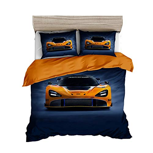 AYMAYO Bettwäsche-Set, Mode Sportwagen Wendemotiv, Bettbezug 135 X 200 cm, Kopfkissenbezug 50 X 75 cm, Hypoallergen Mikrofaser-Polyester (B,220×240cm) -