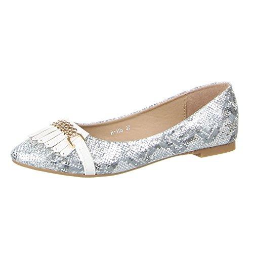 Damen Schuhe, A-105, BALLERINAS Weiß
