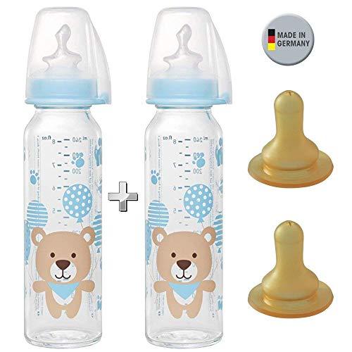 ml // 2er Set // Glas-Babyflasche 250 ml // inkl. 4 Trinksauger Größe M (Silikon + Kautschuk/Milch / ab 0 Monate) ()