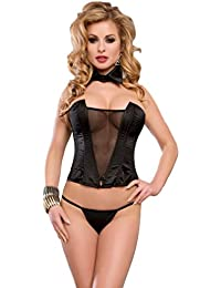 Saphira dessous. Schwarzes Satin-Korsett. Netz auf der Brust. Trägerlos. String enthalten. Kann mit leicht getragen Jeans oder Röcke werden. Bustier