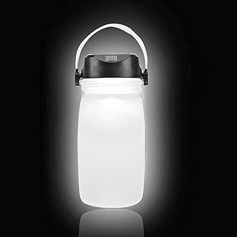 CoolFoxx Silikon LED Camping Laterne, Solar und USB Power Portable IPX6 Wasserdichte Faltbare Camping SOS Blinkende Wasseraufbewahrung Flasche, Drei Beleuchtungsstufen Nachtlicht zum Wandern / Angeln / Camping / Notfälle / Stürme / Reiten / Hurrikane und Party, 7 Zoll (Weiß)