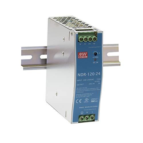 Mean Well ndr-120-24 120 W Metallic Power Supply Unit, Netzgerät, 120 W, 90-264, Metallic, 126 mm, 40 mm, 114 mm