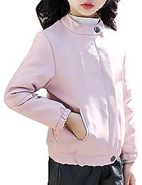 MissChild Chaqueta de Imitación Cuero Niñas Abrigo de PU Cuero Cazadora Biker Chaqueta Invierno otoño
