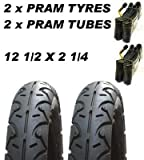2 x Kinderwagen Reifen & 2 x Tuben 12 1/2 x 2 1/4 Profilloser Quinny Freestyle Buzz Hauck Jeep