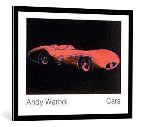 "Bild mit Bilder-Rahmen: Andy Warhol ""Cars, Formula - I - Car W 196 R, Bj. 1954"" - dekorativer Kunstdruck, hochwertig gerahmt, 90x70 cm, Schwarz / Kante grau"
