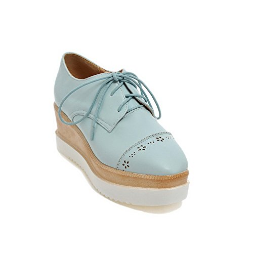 Braune Riemchen Wedges (AllhqFashion Damen PU Schnüren Quadratisch Zehe Mittler Absatz Pumps Schuhe, Blau, 40)