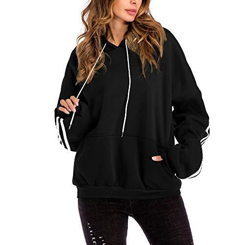 UFACE Women Plus Size Lässige feste Kapuzenbluse Loose Striped Pocket Sweatshirt