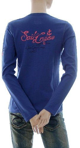 Kitaro Damen Langarm Shirt Cardigan Jacke V-Ausschnitt Sail Cruise Blau