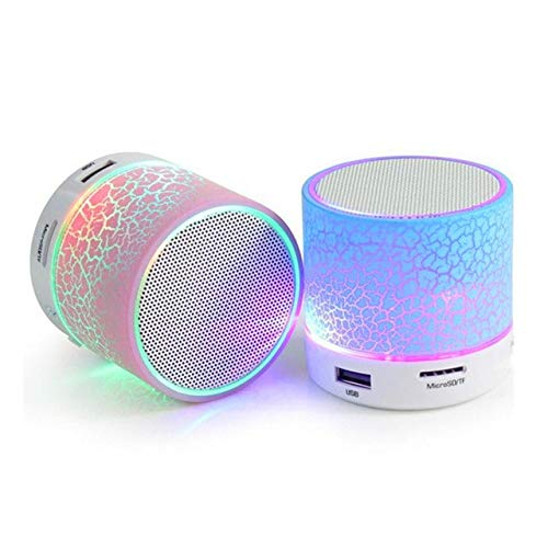 Jigazo S-10 Wireless LED Bluetooth Speakers with Built-in Microphone, SD Card, USB Slot & FM Radio Supported Compatible with All Android, Windows (Color May Vary)