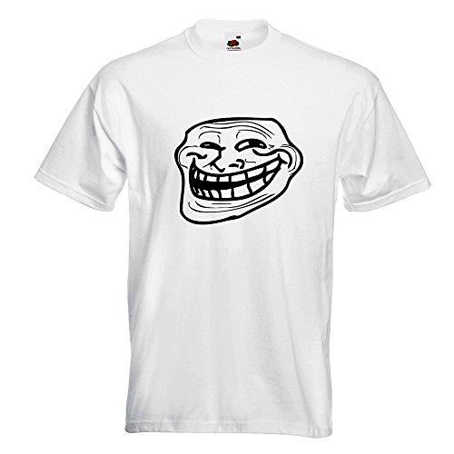 KIWISTAR - Troll Face - Coolface T-Shirt in 15 verschiedenen Farben - Herren Funshirt bedruckt Design Sprüche Spruch Motive Oberteil Baumwolle Print Größe S M L XL XXL Weiß